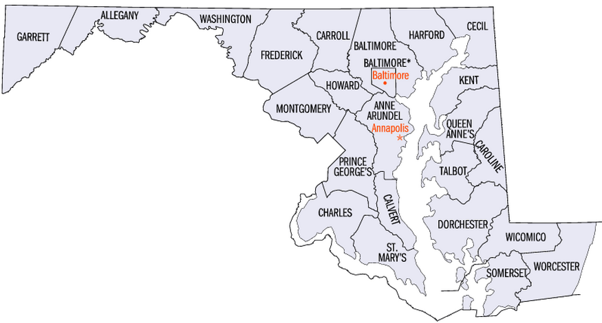 Maryland County map